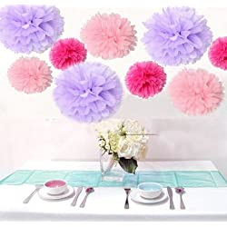 Krismile® Pack of 18PCS Mixed Pink Lavender Hot Pink Tissue Pom Poms Paper Flower Wedding Pompoms Birthday Party Bridal Shower Favor Decoration