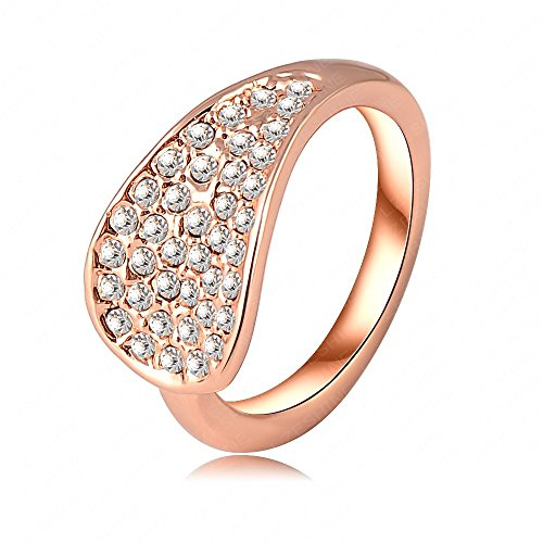 BMALL Fashion Ring 18K Rose Gold Plate Genuine Elements Austrian Crystal Finger Rings 21*11mm Ri-HQ0064