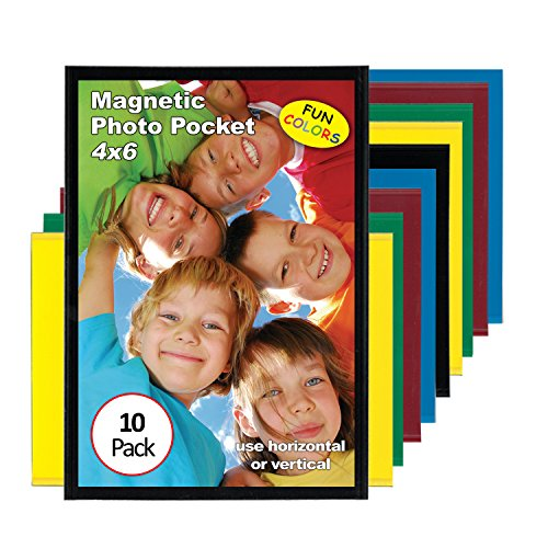 Magtech Magnetic Photo Pocket Picture Frame, Color Pops, Holds 4 x 6 inch Photos, 10 Pack Assorted Colors (94610)