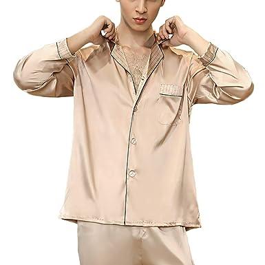 028947f5c3d2 Men Classic Satin Classic Pajama Set Long Sleeve Comfortable Pajamas L-2XL  at Amazon Men s Clothing store