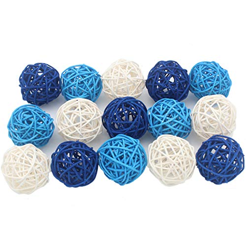 (ALLHEARTDESIRES 15PCS Mixed Deep Blue Light Blue White Decorative Wicker Rattan Ball Boy Baby Shower Kids Birthday Royal Wedding Anniversary Party Centerpieces Festival Event Decoration)