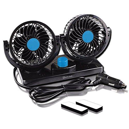 (Zento Deals 12V Dual Head Car Auto Cooling Air Fan)