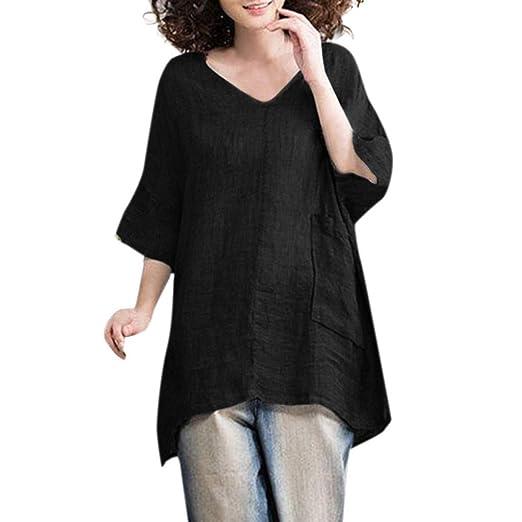 2cbc2027c654 VEFSU Women Casual Blouse V Neck Linen Solid Shirt Boho Comfortable Loose  Pocket Tops Black S