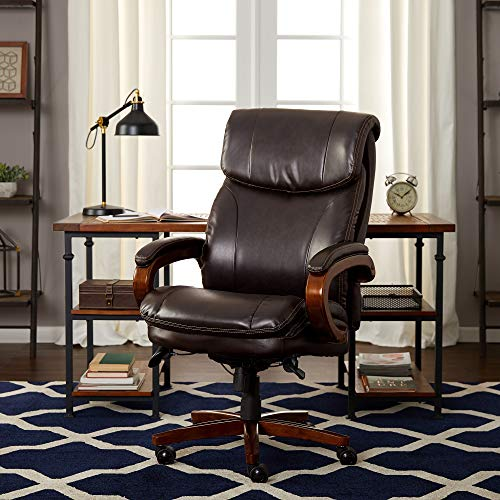 La-Z-Boy Trafford Big & Tall Executive Bonded Leather Office Chair – Vino (Brown)