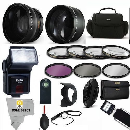 PROFESSIONAL ACCESSORY KIT FOR NIKON COOLPIX P900. INCLUDES WIDE ANGLE LENS MACRO LENS TELEPHOTO ZOOM LENS CARRYING CASE FLASH FOR NIKON COOLPIX P900