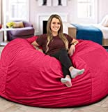 Large 4' Fuf Comfort Suede Bean Bag Chair Cover Only-Pink by Ink Craft