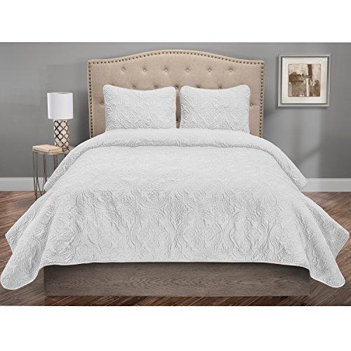 (Elite Home Products Inc Francis Solid Color Medallion Pattern 3-Piece Quilt Set White 3 Piece Queen)