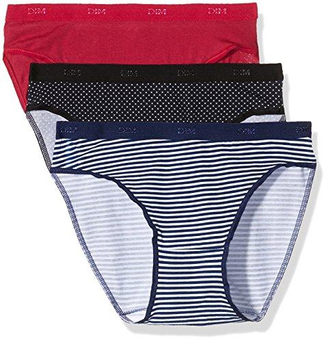 Dim Pockets Coton Slip X3, Braguita para Mujer Lot Rayures/pois
