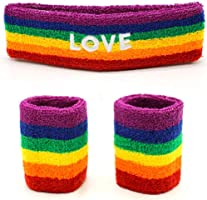 Gay Pride Rainbow Headband And Wristband - 3 Piece Set Perfect for Pride Festivals