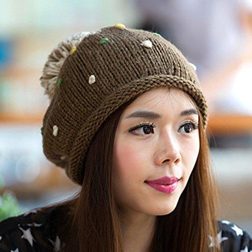 del en Color otoño Encantadora Sombrero de Knit Bola Boina y Maozi de del Invierno Ola Gran Frijol Coreana DARKBROWN de White x4nIq4TX