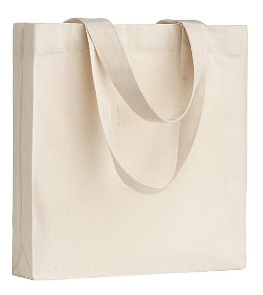 POLHIM-Bolsa Tela 100% Algodón Biodegradable,Lavable,Reutilizable-Asas Largas de 63cm.Para Ropa,Manualidades,Alimentos,Verduras, ir de Paseo y Uso ...