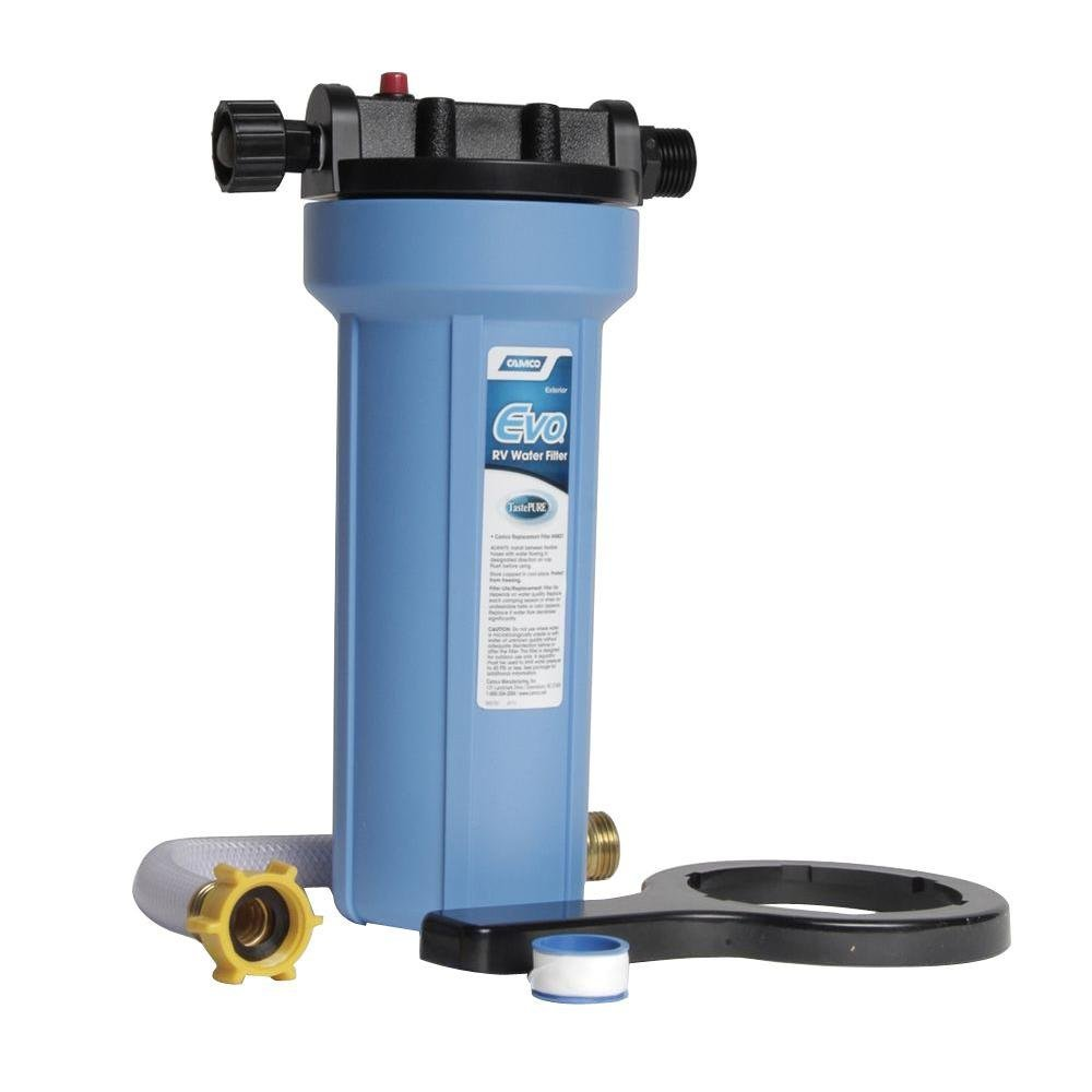 Camco EVO Water Filter with Housing and Hose Extension 1 pk by Camco