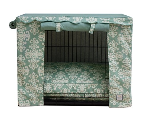 BowhausNYC Elegancia Crate Cover, Sage/Cream For Sale