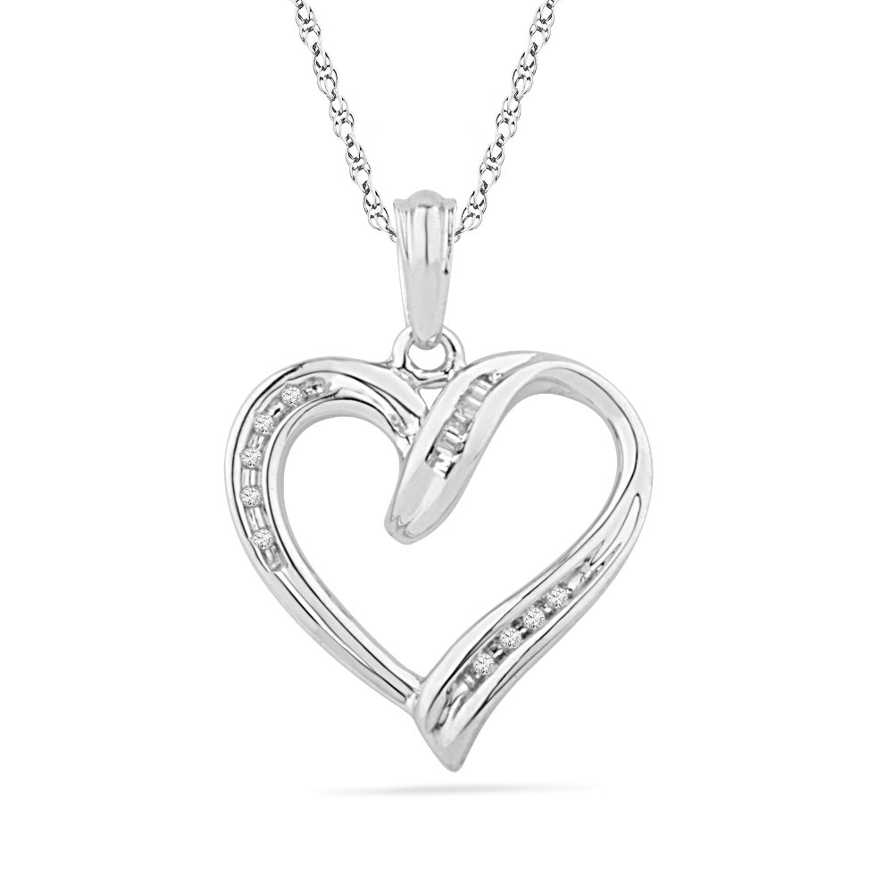 1//20 Cttw Sterling Silver Baguette and Round Diamond Heart Pendant