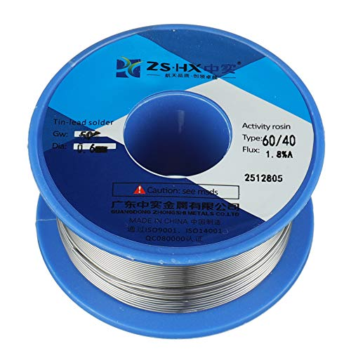 ZSHX 60/40 Tin Lead Rosin core solder wire for electrical soldering (0.6mm 50g) ()