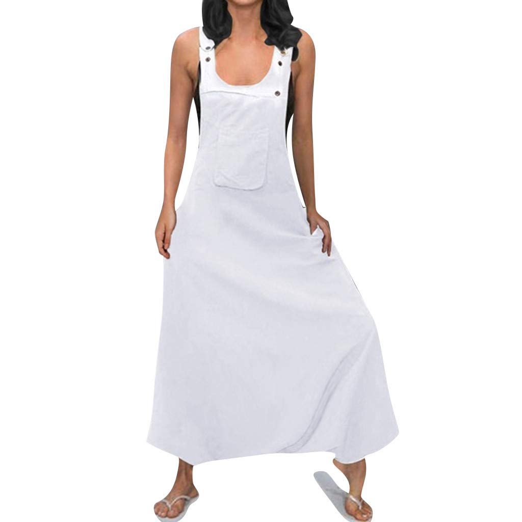 TIFENNY Plus Size Rompers for Women U Neck Sleeveless Backless Dress Side Pockets Baggy Long Jumpsuits Siamese Pants White