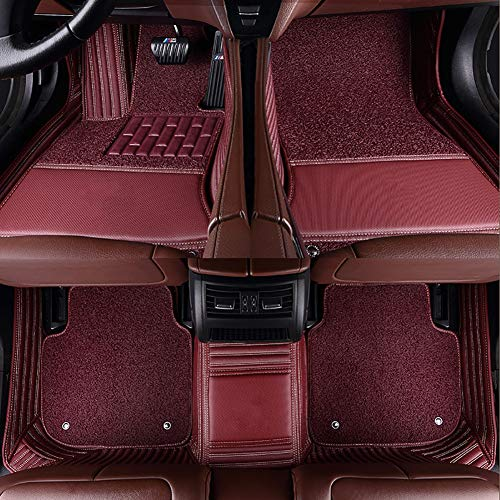 FENGWUTANG Tailored Carpet Car Floor Mats,Leather Non-Slip Front & Rear Luxury Set,Red