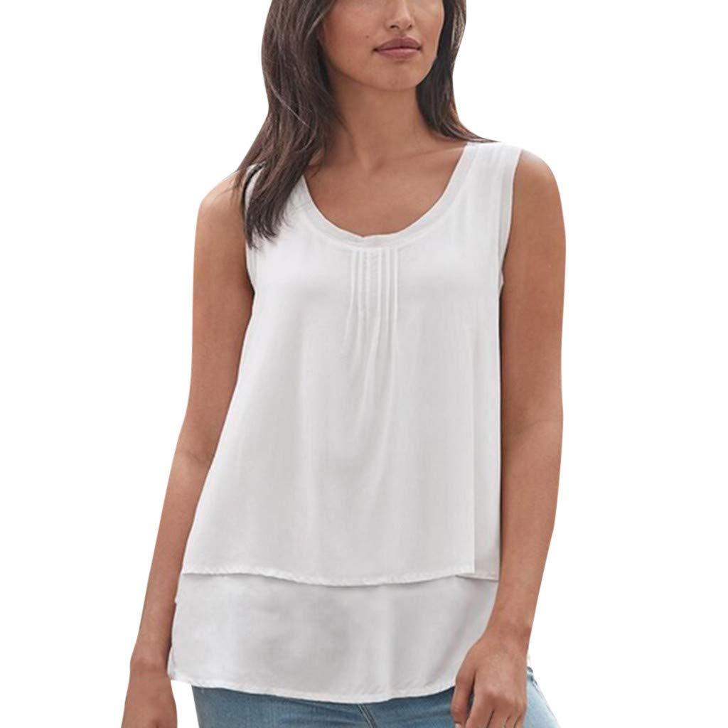 YEZIJIN Womens O Neck Tank Tops Loose Casual Sleeveless Solid Chiffon Blouse Shirts Fashion 2019 Under 10 Dollars White