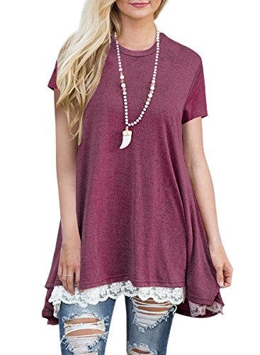 MBIGM Womens Lace Casual Short Sleeve Tunic Tops Loose Shirt Blouse (Wine, Large) (Tunic Top Womens)