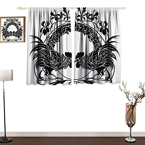 Jinguizi Gallos Decor CollectionBedroom Windproof curtainTwo Cocks Illustration Fighting Cockerel Ornamental Floral Arch Symmetry ImageEnvironmental Protection W72 xL72 Black and White ()