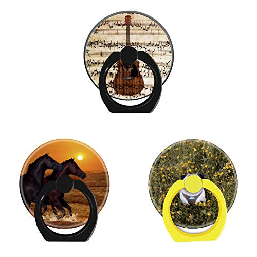 (Bsxeos 360°Rotation Cell Phone Ring Holder with Car Mount Work for All Smartphones and Tablets-Horses at Sunset-Happy Pug-Guitar Notes(3 Pack))
