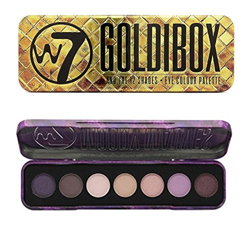 W7 Holiday Kit: Goldibox and the 12 Shades + Moody Mauves 7 Purple Passion Shades Eye Shadow + FREE Eyebrow Razor, 3 Ct.