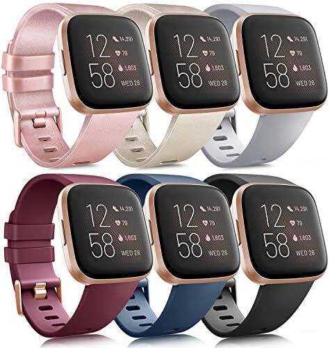 6 Pack Sport Bands Compatible with Fitbit Versa 2 / Fitbit Versa/Versa Lite/Versa SE, Classic Soft Silicone Replacement Wristbands for Fitbit Versa Smart Watch Women Men (6 Pack A, Small)