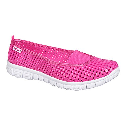 Holees Ballerine Sport Confortable - Chaussures Eté (Rose - Blanc)