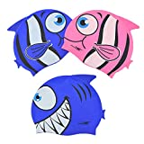 ezyoutdoor Kids Swimming Caps,3 Pack Silicone Swim Caps,Waterproof Swim Cap/Bathing Cap for Children, Boys, Girls (Age 4-12)- Lovely Cute Cartoon Style Animal Pattern Swim Hat