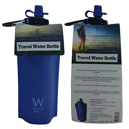 Purify to Eliminate 99.9/% of Waterborne Pathogens 1000 Litre Lifespan //// 700ml Capacity //// Multiple Stage Filtration //// Leak-Proof Design //// Fast Flow WaterWell Travel Ultra Filtering Water Bottle