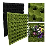 64 Pockets Planting Bags Wall Hanging Gardening Planter Outdoor Indoor Vertical Greening Grow Bags Flower Growing Container, Black