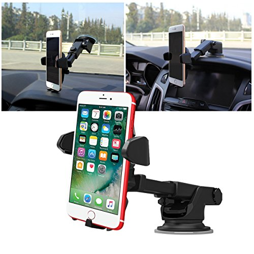 All Cart Car Phone Mount, Washable Strong Sticky Gel Pad Adjustable Design Dashboard Car Windshield Phone Holder iPhone 8/8Plus/7/7Plus/6s/6Plus/5S, Galaxy S5/S6/S7/S8, Google Nexus, LG, Huaw