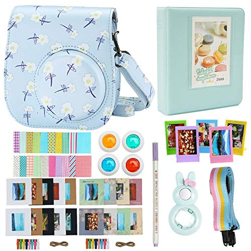Alohallo Mini 8 Instant Camera Accessories Bundles Set for FujiFilm Instax Mini 8 Camera with Camera Case/ Close-Up Lens / Mini Album/ Color Frame/ Sticker Borders/ Strap/ Pens/ Filter (Flower)