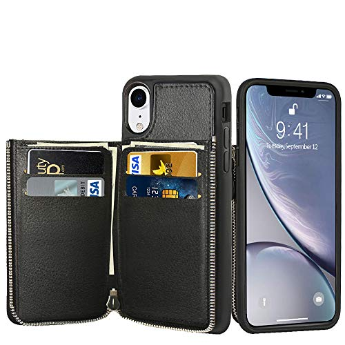 LAMEEKU Wallet Case for Apple iPhone XR, 6.1-Inch, Zipper Leather Purse Case with Credit Card Holder Slot Money Pocket, Shockproof Bumper Cover Compatible with iPhone XR 6.1