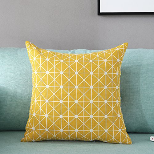 TAOSON Yellow Lattice Geometry Pattern Cotton Flax Soft Home