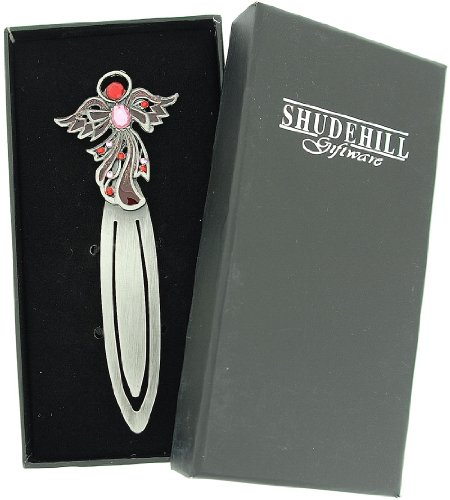 SHJ Jewel Pewter Angel Bookmark - Pink-Red - Bookends Church