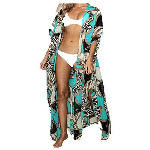 (Aunimeifly Boho Cardigan Ladies Long Print Cover-up Summer Beach Bikini Kimono Half-Sleeved Chiffon Blouse Tops Green)