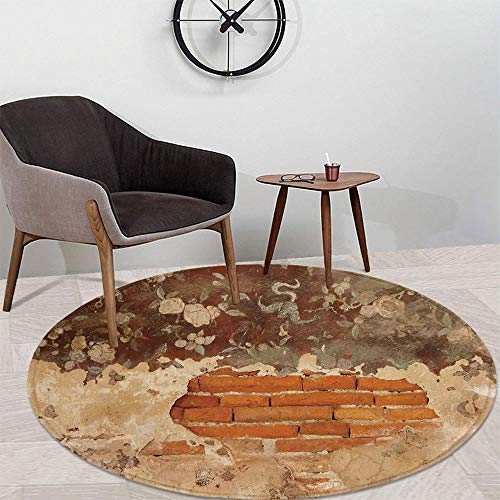 Antique Water Uptake Round Mat,Old Historical Floral Mural Painting on A Wall Concrete Bricks Rustic Decoration for Restroom Balcony,47.24