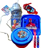 Disneyland Survival Kit Lunch on the Go Water Bottle , Sandwich and Snack Container with Fork and Spoon Marvel Super Heroes Avengers and Spiderman Includes Handy Hand Sanitizer ! (Avengers Water Bottle with Straw and Carry Around)
