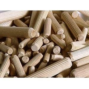 Choice DIY - Tacos de madera cilíndricos (diám. 10 mm, 70 mm de largo , paquete de 100 unidades)