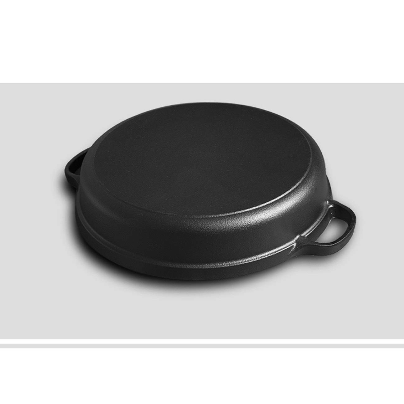 TONGBOSHI Double ear pan cast iron frying pan thick pancake pot no coating thickening cast iron pot non-stick household gas universal product (Color : Black, Size : 25cm) by TONGBOSHI (Image #3)