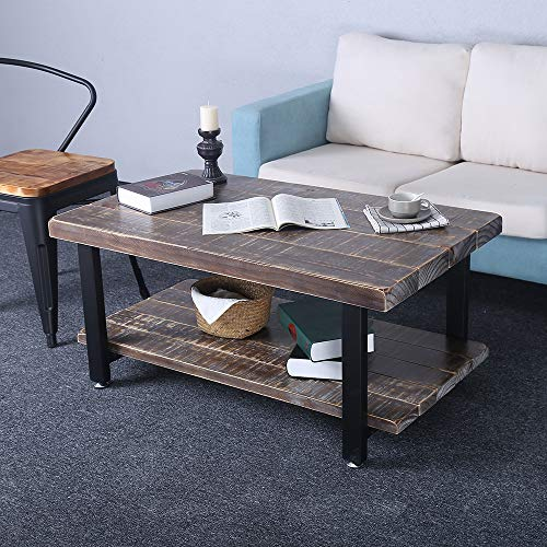 Rustic Coffee Table with Storage Open Shelf,Reclaimed Wood & Metal Legs Mid Century Modern Coffee Table for Living Room,Industrial Solid Wooden Farmhouse Coffee and End Table Sets Low Table(39.3in) (Wood Table Reclaimed Coffee Large)