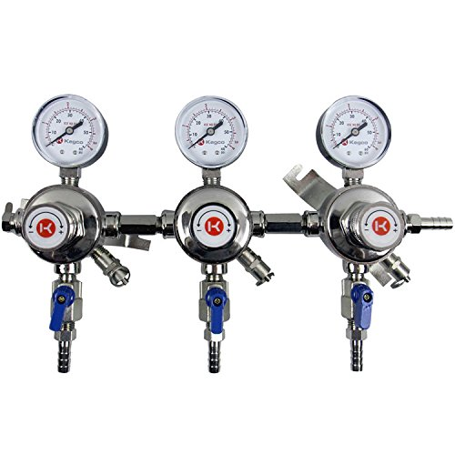 Kegco KC LH-54S-3 Premium Pro Series Three Product Secondary Beer Regulator, Chrome by Kegco