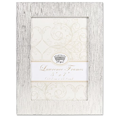 Lawrence Frames Lawrence Royal Designs 5x7 Princess Beads Satin Silver Picture Frame
