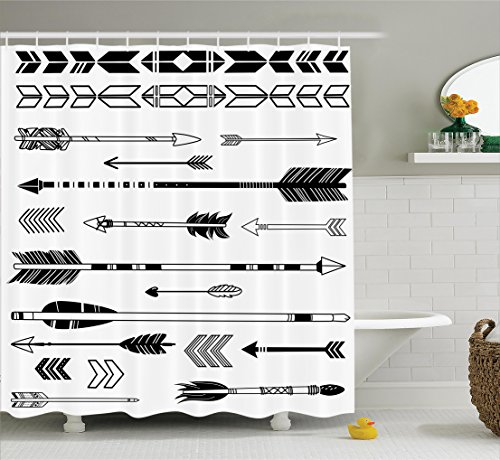 Ambesonne Arrow Decor Collection, Cute Indie Ethnic Western Indian Arrows Traditional Aztec Tribal Culture Print, Polyester Fabric Bathroom Shower Curtain, 75 Inches Long, Black White