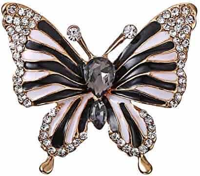 be37de41e21 Connie Cloris Crystal Faux Pearl Rhinestones Butterfly Brooch Pin
