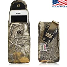 Camouflage Rugged Heavy Duty Nylon Canvas Case with Metal Rotating Clip and Snap Closure fits iPhone 8 with an Otterbox Defender case on it.