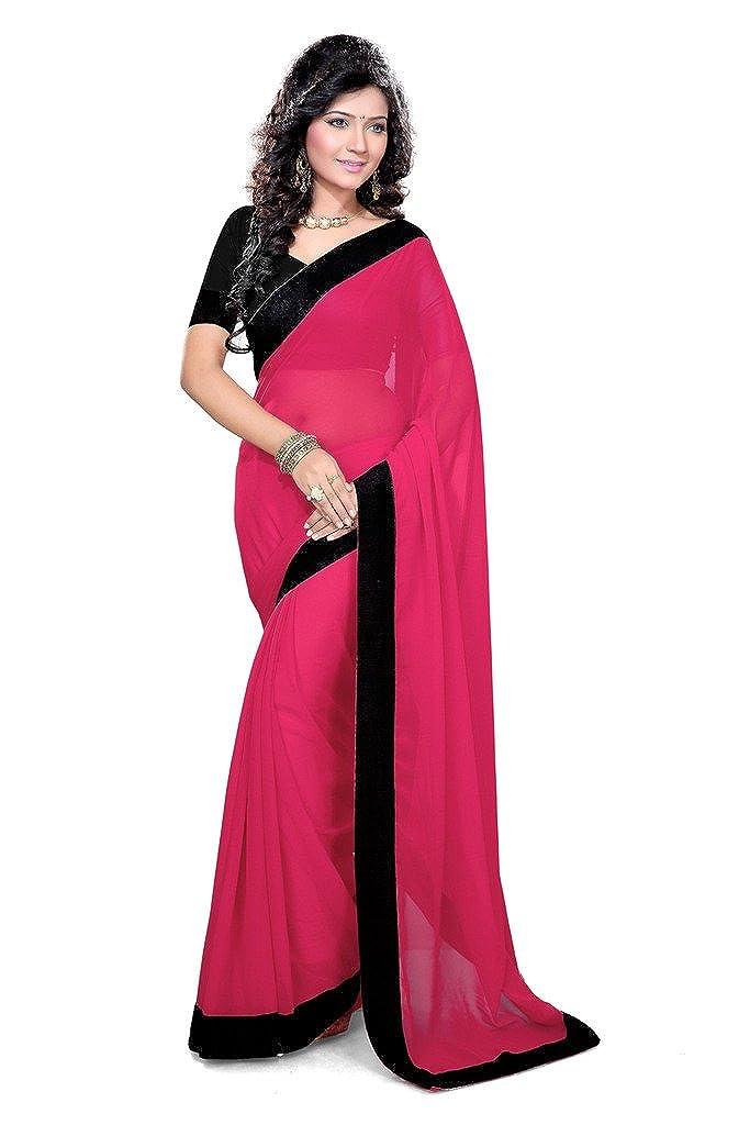 Mirchi Fashion sintética de la mujer georgette de encaje trabajo boda ceremonia Indian Saree - Rosado - : Amazon.es: Ropa y accesorios