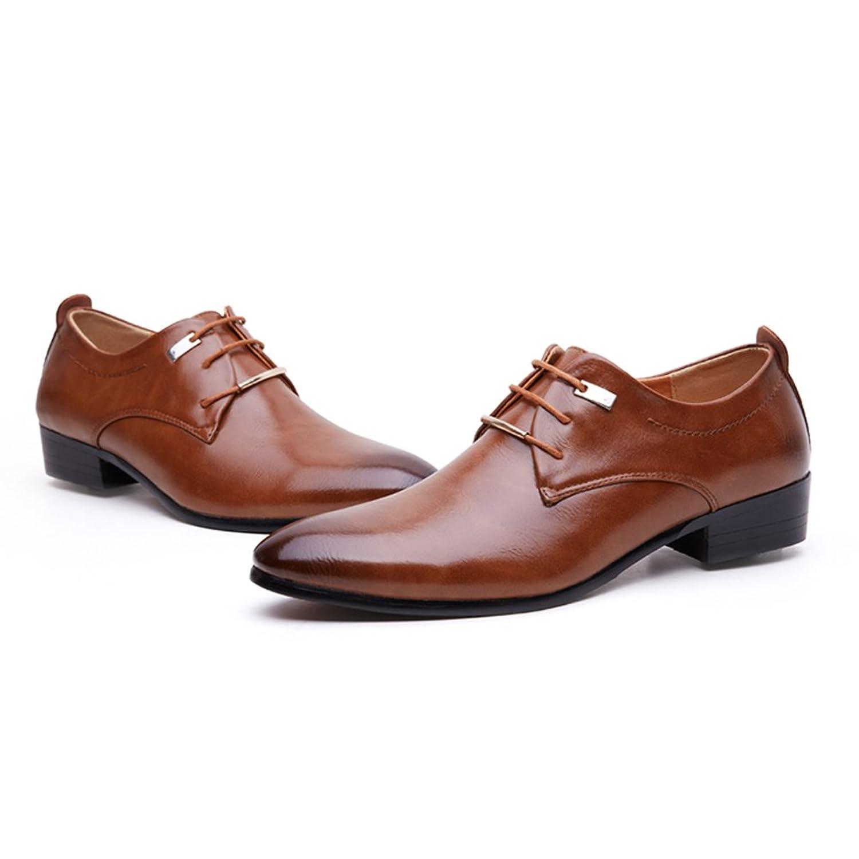 Blivener Klassisch Glattleder Derby Schuhe Formell Hochzeit Lederschuhe Schnürschuhe Braun Größe EU 46 pbSrpQ
