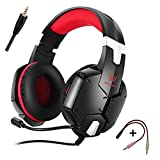 ENVEL KOTION EACH G1200 Gaming Headset for PS4 Over-ear Professional Headphone Headset Bass Earphones 3.5m Cool Style Stereo with Mic Noise Cancelling and Volume Control (Black Red)